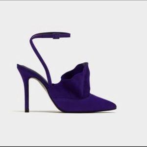 Zara purple suede ruffle dress shoe 37(7) BNWT